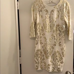 Fitted white with Gold Sequin mini dress BRAND NEW